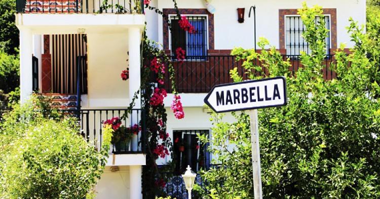 Sign for marbella in village