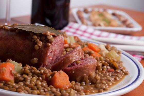 pork sausage with lentils
