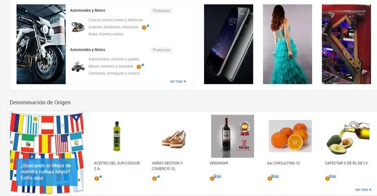 Portal de compras Alibaba (Fuente: spanish.alibaba.com)