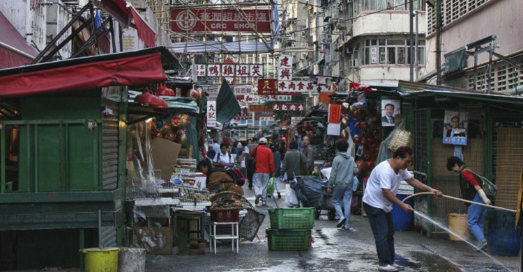 Kowloon, la ciudad amurallada, antes de convertirse en un parque. iSotck