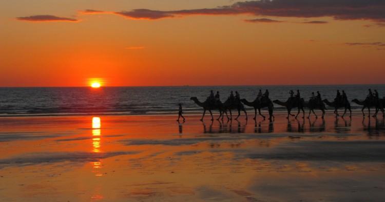 Camellos y puesta de sol en Cable Beach. AntjeSchlegel (Flickr)