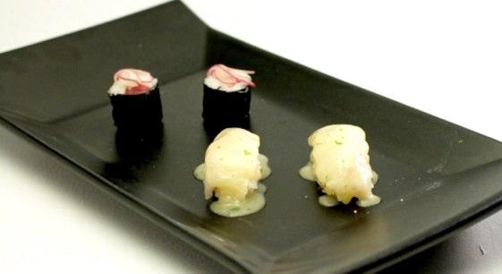 Maki de solomillo marinado y Nigiri de rape en salsa verde