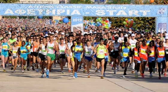 La salida del Maratón de Atenas es, siempre, un momento muy especial.