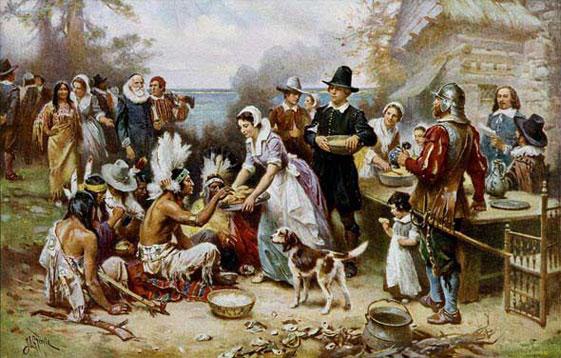 La primera cena de Acción de Gracias, óleo de Jean Leon Gerome Ferris