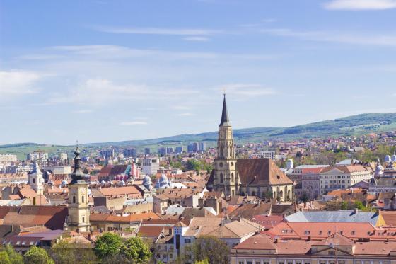 Scenic view of Cluj-Napoca under blue sky, Romania