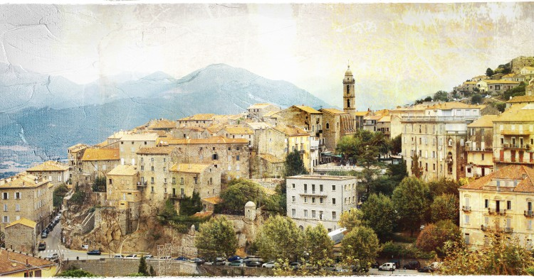 Sartene - impressive medieval hilltop village in Corsica, retro