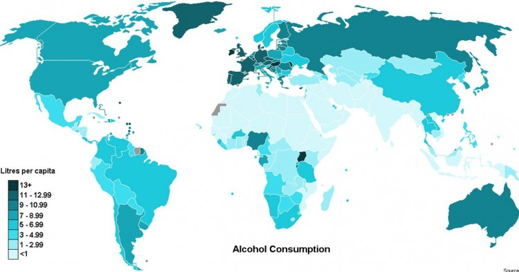 Consumo de alcohol en el mundo (Wikipedia)
