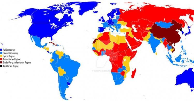 Mapa de la democracia en el mundo (Deviantart)