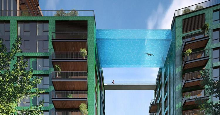 Piscina vertiginosa de Embassy Gardens Legacy Buildings, Londres. Hayes Davidson (HAL architects)