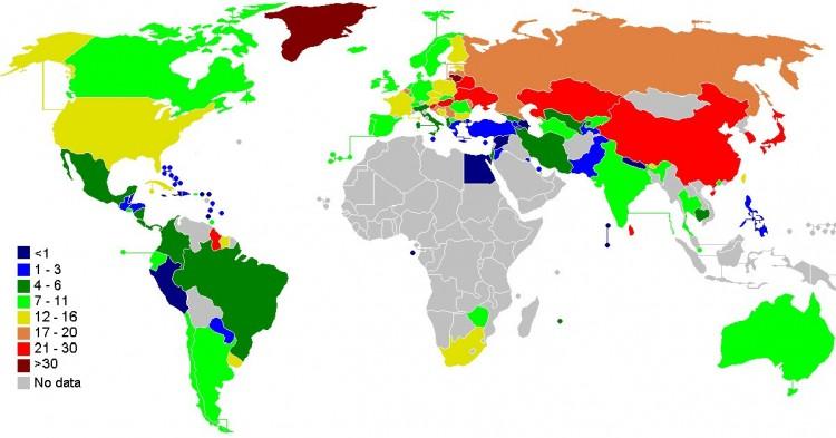Tasa de suicidios en el mundo (Wikimedia)
