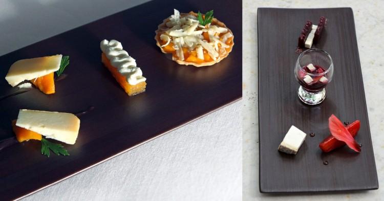 Platos con queso del restaurante Sant Pau