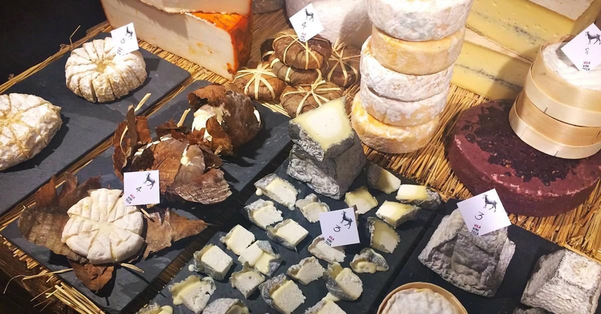 Muestrario de quesos en Vila Viniteca