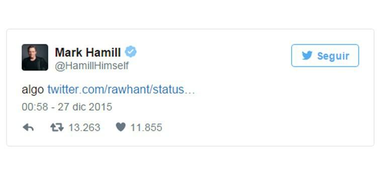 Respuesta en Twitter de Mark Hamill.
