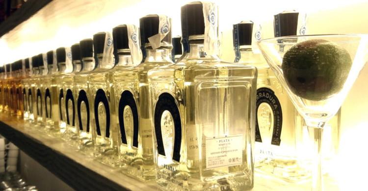 Expositor de tequilas. La Taquería del Alamillo