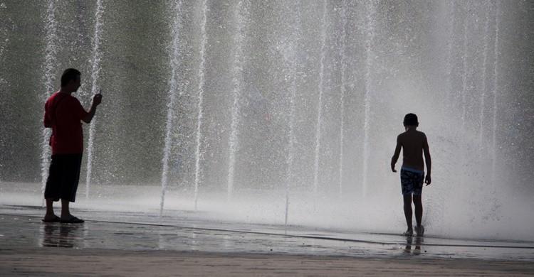 Chorros de agua en el Parque Juan Carlos I. Nils van der Burg (Flickr)