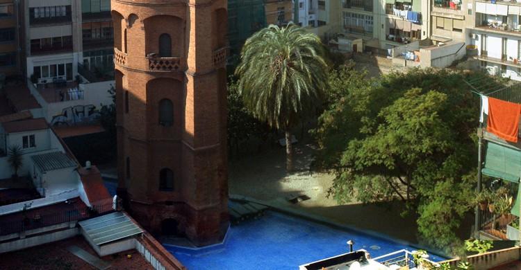 Vista aérea. Jardines de la Torre de les Aigües (Wikipedia)