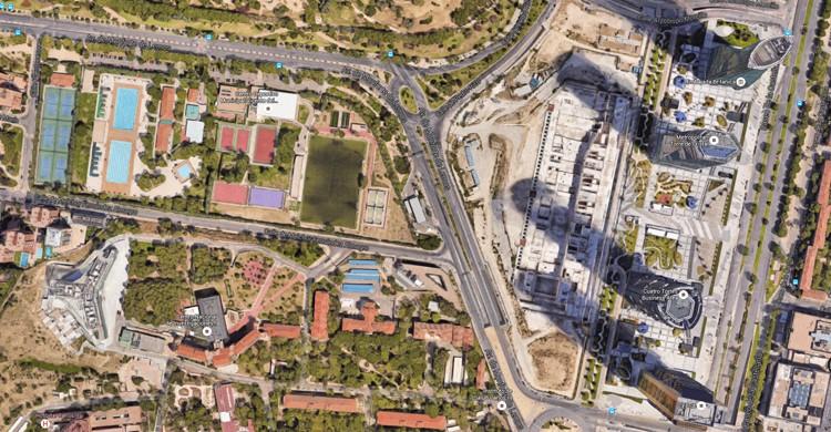 Vista aérea. Centro Deportivo Municipal Vicente del Bosque (Google Maps)