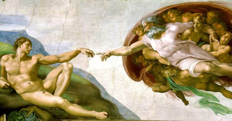 La creación de Adán, de Miguel Ángel, en la Capilla Sixtina (wikimedia.org)