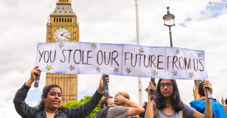 Imagen de las protestas en Londres contra el Brexit (iStock)