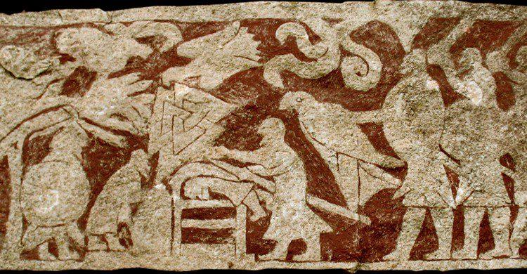 Grabado en piedra del sacrificio de Stora Hammars I de Gotland, Suecia (Wikipedia)