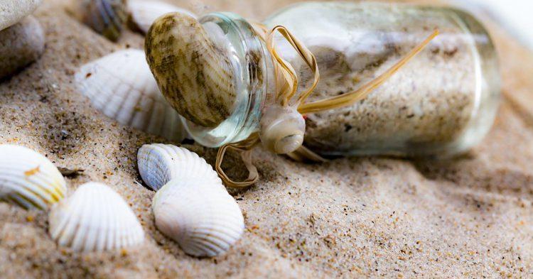 Botella decorada con arena de playa