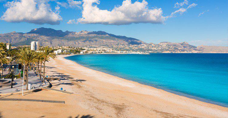 imagen en verano de la playa de Albir