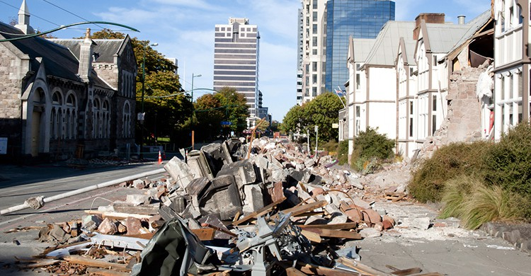 Destrozos tras el terremoto de Christchurch