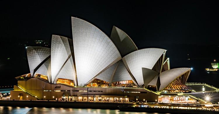 Ópera de Sidney iluminada