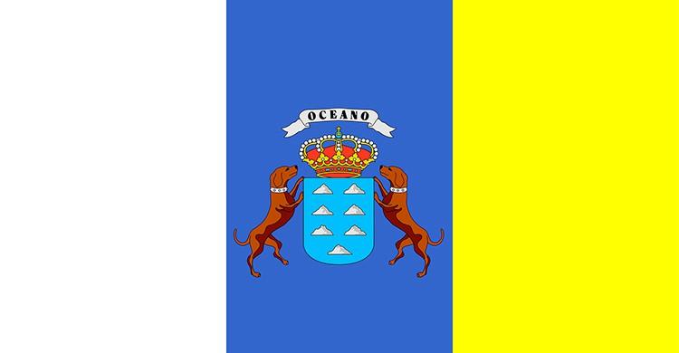 La bandera de las islas Canarias