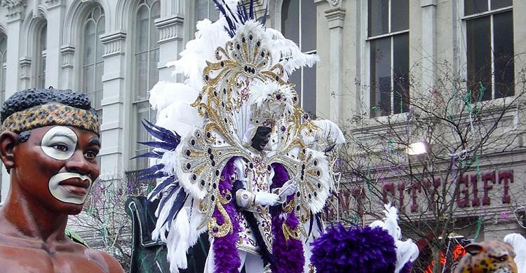 Mardi gras durante el Carnaval de Nueva Orleans