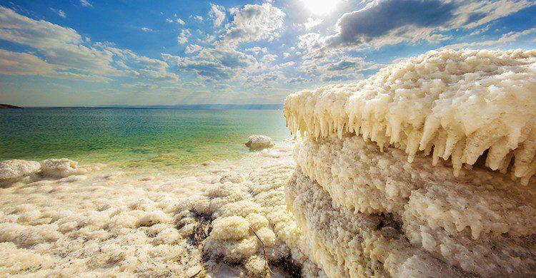 Depósitos de sal en el Mar Muerto