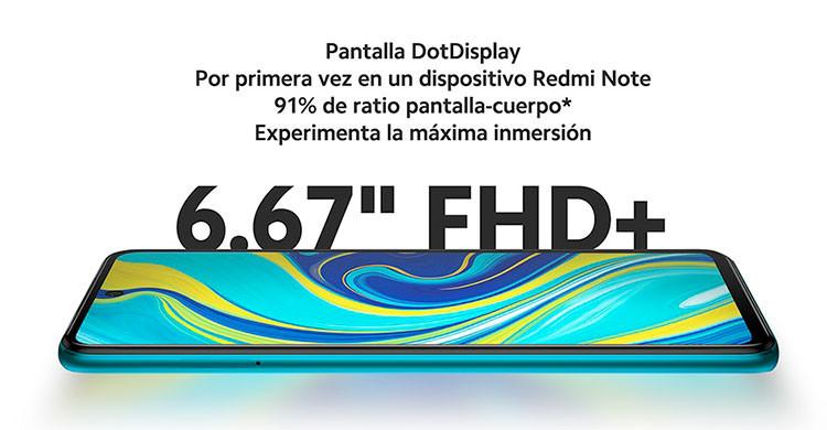 La pantalla del Xiaomi Redmi Note 9S es de 6,67 pulgadas (es.aliexpress.com)